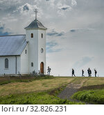 Flatey Church, Flatey island in Breidafjordur, Westfjords, Iceland. Стоковое фото, фотограф Ragnar Th. Sigurdsson / age Fotostock / Фотобанк Лори