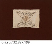 Insertion from a Table Cloth, 1601/25, England, Linen, plain weave, ink drawing, embroidered with silk and linen in chain and running stitches, cut and... Редакционное фото, фотограф ARTOKOLORO QUINT LOX LIMITED / age Fotostock / Фотобанк Лори