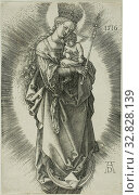 Купить «The Virgin on a Crescent with a Crown of Stars and a Scepter, 1516, Albrecht Dürer, German, 1471-1528, Germany, Engraving in black on ivory laid paper, 117 x 73 mm (image/sheet)», фото № 32828139, снято 5 июля 2020 г. (c) age Fotostock / Фотобанк Лори