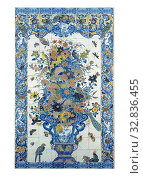 Купить «Tile panel with flower still life, Tile panel of one hundred and four tiles (13 x 8) with a multi-colored (blue, green, yellow, red and purple) painted...», фото № 32836455, снято 26 февраля 2020 г. (c) age Fotostock / Фотобанк Лори