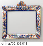Купить «Furniture, Rectangular mirror frame with profiled lines and styles with an acanthus leaf on the corners. The rules and styles are decorated with an Imari...», фото № 32838011, снято 18 февраля 2020 г. (c) age Fotostock / Фотобанк Лори