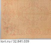 Piqué quasi Zaans stitching cover, showing a woven pattern in red and blue on a white background, with neo-rococo ornaments on a background of diamonds... Редакционное фото, фотограф ARTOKOLORO QUINT LOX LIMITED / age Fotostock / Фотобанк Лори