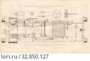 Купить «Tender Engine Tank Engine built by Gebr. Scharp, Ground plan of the locomotive of the Sharp, Roberts and Company in Manchester, signed: Heusinger v., W...», фото № 32850127, снято 25 мая 2020 г. (c) age Fotostock / Фотобанк Лори