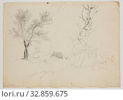 Купить «Thomas Cole, American, 1801-1848, Wretched hovel. in midst of burnt trees (log cabin with yellow birch), 1828, graphite pencil on off-white wove paper, Sheet: 14 5/8 × 10 1/2 inches (37.1 × 26.7 cm)», фото № 32859675, снято 15 июля 2020 г. (c) age Fotostock / Фотобанк Лори