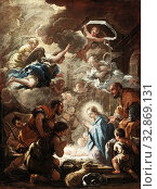 Luca Giordano, Italian, 1634-1705, Adoration of the Shepherds, c. 1690/1691, oil on canvas, Unframed: 27 3/4 × 20 13/16 × 1/16 inches (70.5 × 52.9 × 0.1 cm) Редакционное фото, фотограф ARTOKOLORO QUINT LOX LIMITED / age Fotostock / Фотобанк Лори