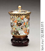 Купить «Presentation cup with hundred poets (w/ lid and stand), 1900-1950, porcelain with enamel and paint, wood stand, A) 7/8 x 2-3/4 (diam.) in., B) 3-1/8 x...», фото № 32883011, снято 24 сентября 2019 г. (c) age Fotostock / Фотобанк Лори