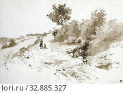 Hilly landscape in France, France, Johan Daniel Koelman (mentioned on object), Sep-1853, paper, brush, h 327 mm × w 482 mm. Редакционное фото, фотограф ARTOKOLORO QUINT LOX LIMITED / age Fotostock / Фотобанк Лори