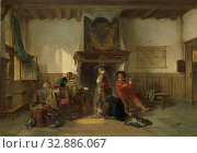 Купить «Soldiers in a Guardsroom, Waiting room with four soldiers at tables in front of a fireplace. A soldier on the left is writing a letter. On the floor are...», фото № 32886067, снято 13 июля 2020 г. (c) age Fotostock / Фотобанк Лори