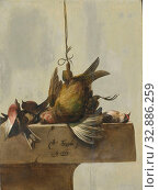 Still Life with Birds, Still life with birds. Several dead birds lie on a stone plinth, one of which is suspended from a leg., William Gowe Ferguson, 1662... Редакционное фото, фотограф ARTOKOLORO QUINT LOX LIMITED / age Fotostock / Фотобанк Лори