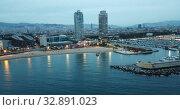 Купить «Barcelona seashore on Mediterranean in night lights, aerial view», видеоролик № 32891023, снято 27 сентября 2018 г. (c) Яков Филимонов / Фотобанк Лори
