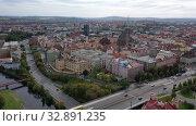 Купить «Aerial landscape of czech town of Pilsen with old historical houses in fall day», видеоролик № 32891235, снято 11 октября 2019 г. (c) Яков Филимонов / Фотобанк Лори