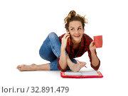 Young woman at work over white. Стоковое фото, фотограф Алексей Кузнецов / Фотобанк Лори