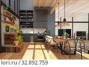 modern domestic kitchen interior. Стоковое фото, фотограф Виктор Застольский / Фотобанк Лори