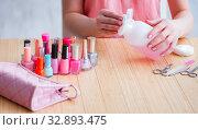 Купить «Beauty products nail care tools pedicure closeup», фото № 32893475, снято 31 мая 2017 г. (c) Elnur / Фотобанк Лори