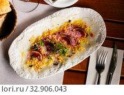 Купить «Cod carpaccio with fresh figs», фото № 32906043, снято 23 февраля 2020 г. (c) Яков Филимонов / Фотобанк Лори