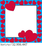 Postcard Valentine's Day. Red bright repeating hearts in a square frame on a white and blue background with a copy space for the cover of a congratulation, message, holiday gift. Стоковая иллюстрация, иллюстратор Светлана Евграфова / Фотобанк Лори