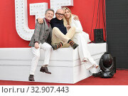 Enzo Ghinazzi ' Pupo ', Alfonso Signorini, Wanda Nara during the photocall of reality tv ' Il grande fratello Vip ' Rome, ITALY-07-01-2020. Редакционное фото, фотограф Maria Laura Antonelli / AGF/Maria Laura Antonelli / age Fotostock / Фотобанк Лори
