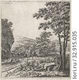 Landscape with a mule driver Lanschappen (series title), mule, Willem de Heusch (mentioned on object), Utrecht, c. 1635 - 1692, paper, etching, h 260 mm × w 237 mm. Редакционное фото, фотограф ARTOKOLORO QUINT LOX LIMITED / age Fotostock / Фотобанк Лори