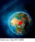 Купить «Sudan from space on Earth surrounded by space with Moon and Milky Way. Detailed planet surface with city lights and clouds. 3D illustration. Elements of this image furnished by NASA.», фото № 32917695, снято 12 июля 2020 г. (c) easy Fotostock / Фотобанк Лори