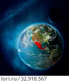 Купить «Mexico from space on Earth surrounded by space with Moon and Milky Way. Detailed planet surface with city lights and clouds. 3D illustration. Elements of this image furnished by NASA.», фото № 32918567, снято 12 июля 2020 г. (c) easy Fotostock / Фотобанк Лори
