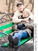 Купить «Senior couple sitting on a park bench on an autumn day.», фото № 32919587, снято 14 ноября 2019 г. (c) Акиньшин Владимир / Фотобанк Лори
