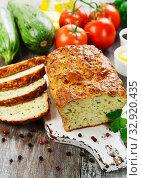 Купить «Unsweetened zucchini cake», фото № 32920435, снято 30 июля 2019 г. (c) Надежда Мишкова / Фотобанк Лори