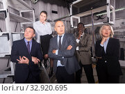 Купить «Focused business colleagues thinking in lost room-lab», фото № 32920695, снято 29 января 2019 г. (c) Яков Филимонов / Фотобанк Лори