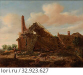 Farmhouse in ruins, Derelict farm with a man who hunts chickens hanging over the lower door. On the left a boy is keeping pigs, on the right a man at a... Редакционное фото, фотограф ARTOKOLORO QUINT LOX LIMITED / age Fotostock / Фотобанк Лори