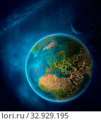 Купить «Planet Earth with highlighted Slovenia in space with Moon and Milky Way. Visible city lights and country borders. 3D illustration. Elements of this image furnished by NASA.», фото № 32929195, снято 12 июля 2020 г. (c) easy Fotostock / Фотобанк Лори