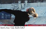 Купить «A young woman figure skater spinning around herself on ice rink outdoors», видеоролик № 32929547, снято 29 марта 2020 г. (c) Константин Шишкин / Фотобанк Лори