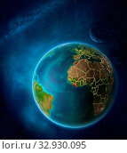 Купить «Planet Earth with highlighted Liberia in space with Moon and Milky Way. Visible city lights and country borders. 3D illustration. Elements of this image furnished by NASA.», фото № 32930095, снято 12 июля 2020 г. (c) easy Fotostock / Фотобанк Лори