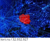 Poland on blue digital map with networks. Concept of international travel, communication and technology. 3D illustration. Elements of this image furnished by NASA. Стоковое фото, фотограф Zoonar.com/Tomas Griger / easy Fotostock / Фотобанк Лори