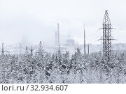 An electric power transmission lines from power station passes in wintry forest, snowy wires. Стоковое фото, фотограф Кекяляйнен Андрей / Фотобанк Лори
