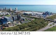 Купить «Aerial panoramic view of chemical process plant on Mediterranean coast near Mataro, Catalonia, Spain», видеоролик № 32947515, снято 24 ноября 2019 г. (c) Яков Филимонов / Фотобанк Лори