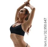 Shaping. Slim girl straightened gracefully. Стоковое фото, фотограф Гурьянов Андрей / Фотобанк Лори