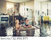 Купить «kids and flooding», фото № 32950971, снято 28 мая 2020 г. (c) Виктор Застольский / Фотобанк Лори
