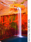 Купить «Salto del Agrio waterfall, Patagonia, Argentina», фото № 32951335, снято 8 февраля 2017 г. (c) Яков Филимонов / Фотобанк Лори