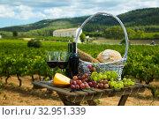 Red wine, bread in basket, cheese and grapes. Стоковое фото, фотограф Яков Филимонов / Фотобанк Лори