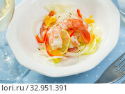 Ceviche with shrimps, fresh vegetables. Стоковое фото, фотограф Яков Филимонов / Фотобанк Лори