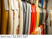 Купить «Colorful fabric textile on showcase in store», фото № 32951527, снято 8 ноября 2019 г. (c) Tryapitsyn Sergiy / Фотобанк Лори