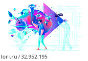 Abstract Xtreme colorful illustration VR technology man gamer cyberpower virtual reality. Стоковая иллюстрация, иллюстратор Maryna Bolsunova / Фотобанк Лори