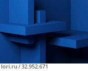 Купить «Abstract minimal architectural background with classic blue boxes installation», иллюстрация № 32952671 (c) EugeneSergeev / Фотобанк Лори