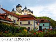 View of medieval castle Karlstejn. Bohemia. Czech Republic. Стоковое фото, фотограф Яков Филимонов / Фотобанк Лори