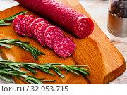 Купить «Fuet nobleza, traditional spanish sausage», фото № 32953715, снято 8 апреля 2020 г. (c) Яков Филимонов / Фотобанк Лори