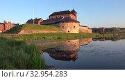Старинная крепость-тюрьма Хямеэнлинна крупным планом тихим июльским утром. Финляндия (2018 год). Стоковое видео, видеограф Виктор Карасев / Фотобанк Лори