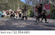 Folklore ensemble of indigenous people of Kamchatka dancing in traditional clothing during Itelmens national ritual festival thanksgiving nature Alhalalalay. Kamchatka Peninsula. Редакционное видео, видеограф А. А. Пирагис / Фотобанк Лори
