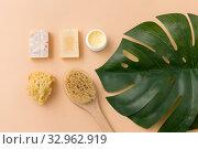 Купить «natural soap, brush, sponge and body butter», фото № 32962919, снято 8 ноября 2018 г. (c) Syda Productions / Фотобанк Лори
