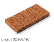 Купить «Block of kindling briquettes isolated on white», фото № 32966195, снято 6 июля 2020 г. (c) easy Fotostock / Фотобанк Лори