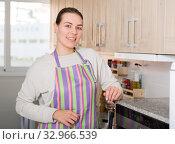 Купить «Portrait of cheerful female who is playful posing in the kitchen», фото № 32966539, снято 29 марта 2018 г. (c) Яков Филимонов / Фотобанк Лори