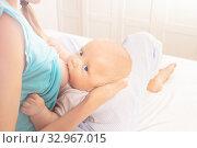 Soft photo of baby head small infant breastfeeding. Стоковое фото, фотограф Сергей Новиков / Фотобанк Лори